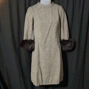 Vintage Hepburn style dress fur cuffs